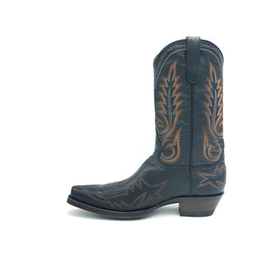 "Men's Black Cowboy Boots Multi-Tone Rust Flame Stitch and Toe on Vamp Traditional Western Stitch on Shaft Classic Toe Medallion 12"" Height Rounded Snip Toe 1 1/2"" Underslung Heel Brown Sole"