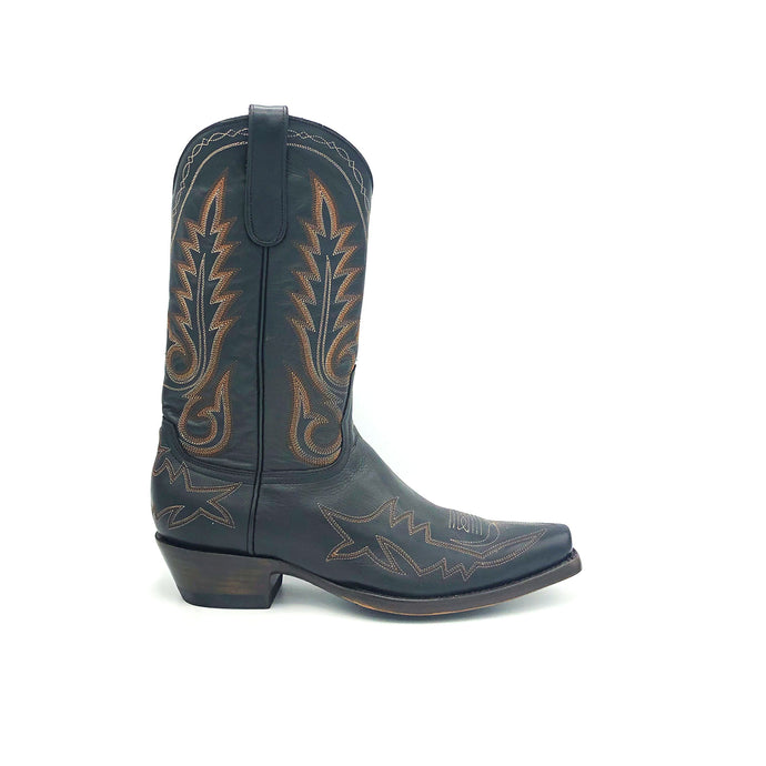 Men's Black Cowboy Boots Multi-Tone Rust Flame Stitch and Toe on Vamp Traditional Western Stitch on Shaft Classic Toe Medallion 12