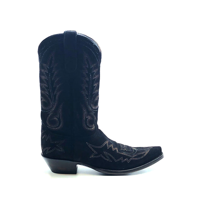 Men's Black Suede Cowboy Boots Multi-Tone Brown Flame Stitch on Vamp and Traditional Western Stitch Pattern on Shaft 12