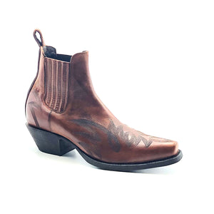 "Men's Burnished Brown Ankle Cowboy Boots with Heavy Black Stitch Western Pattern on Vamp and Heel Counter 6"" Height Rounded Snip Toe 1 1/2"" Underslung Heel Chocolate Sole"