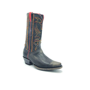 "Men's Distressed Black Cowboy Boots with Fancy Red and Yellow Stitch on Shaft Red Side Seam Piping and Pull-Straps Tan Stitch Classic Western Toe Medallion 12"" Height Rounded Snip Toe 1 1/2"" Underslung Heel Distressed Black Sole"