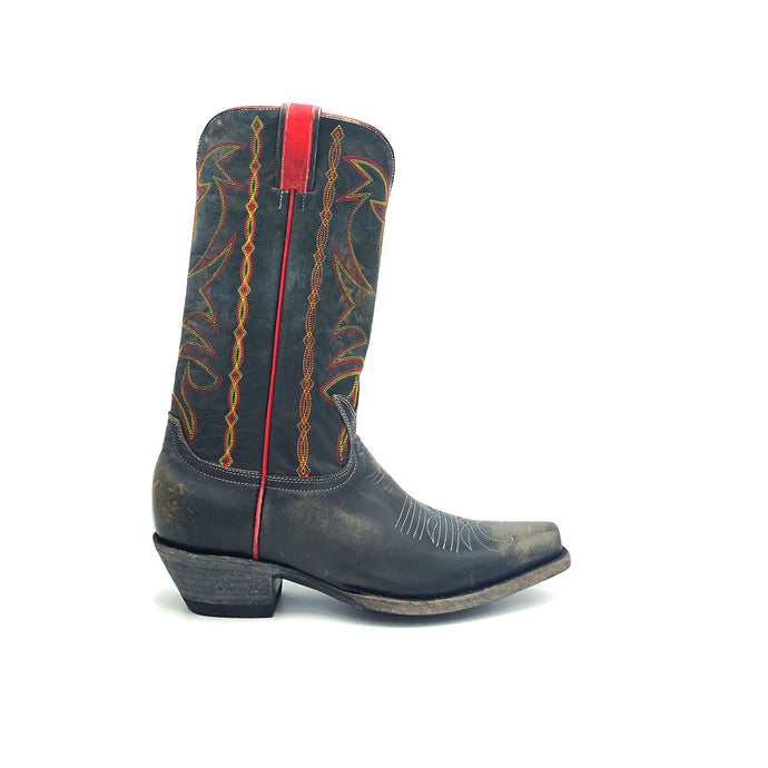 Men's Distressed Black Cowboy Boots with Fancy Red and Yellow Stitch on Shaft Red Side Seam Piping and Pull-Straps Tan Stitch Classic Western Toe Medallion 12
