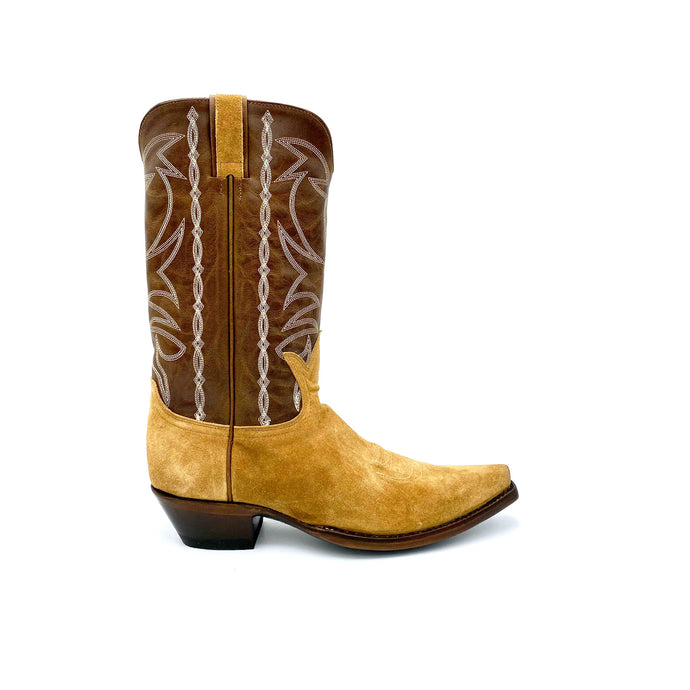 Men's Tan Suede Cowboy Boots Classic Toe Medallion Brown Leather Shaft with Beige Stitched Traditional Western Pattern Tan Suede Pull-Straps 12