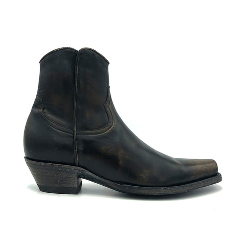 Men's Distressed Black Ankle Zip Cowboy Boots with Inside Zip 7