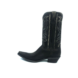 "Men's Distressed Black Cowboy Boots with Fancy Bone Stitch on Shaft Bone Stitch Classic Vintage Toe Medallion 12"" Height Snip Toe 1 1/2"" Underslung Heel Distressed Black Sole"
