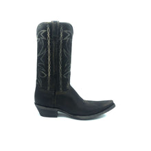 "Load image into Gallery viewer, Men's Distressed Black Cowboy Boots with Fancy Bone Stitch on Shaft Bone Stitch Classic Vintage Toe Medallion 12"" Height Snip Toe 1 1/2"" Underslung Heel Distressed Black Sole"