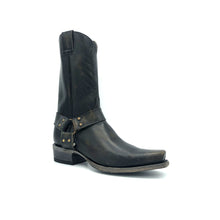"Load image into Gallery viewer, Men's Distressed Black Harness Boots with Aged Brass Hardware 12"" Height 1 1/4"" Toe 1 1/2"" Heel Distressed Black Sole"