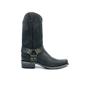 "Men's Distressed Black Harness Boots with Aged Brass Hardware 12"" Height 1 1/4"" Toe 1 1/2"" Heel Distressed Black Sole"
