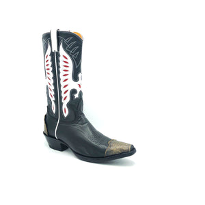 "Men's Black Cowboy Boots with Classic Western Toe Medallion and Lasted Engraved Antique Metal Toe and Heel Counter Black Leather Shaft with White and Red Eagle Inlays White Piping and Pull-Straps 13"" Height Snip Toe 1 1/2"" Underslung Heel  Black Sole"