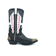 "Load image into Gallery viewer, Men's Black Cowboy Boots with Classic Western Toe Medallion and Lasted Engraved Antique Metal Toe and Heel Counter Black Leather Shaft with White and Red Eagle Inlays White Piping and Pull-Straps 13"" Height Snip Toe 1 1/2"" Underslung Heel  Black Sole"