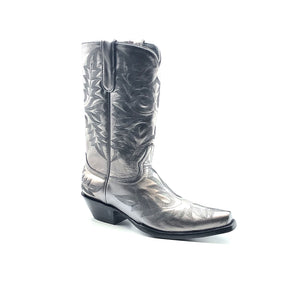 "Men's Metallic Silver Cowboy Boots Fancy Black Western Stitch Pattern on Vamp Heel Counter and Shaft 13"" Height Rounded Snip Toe 1 1/2"" Underslung Heel Black Sole"