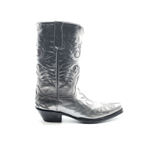 "Load image into Gallery viewer, Men's Metallic Silver Cowboy Boots Fancy Black Western Stitch Pattern on Vamp Heel Counter and Shaft 13"" Height Rounded Snip Toe 1 1/2"" Underslung Heel Black Sole"