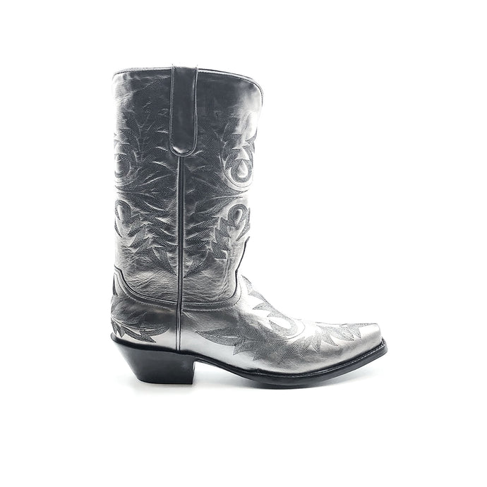 Men's Metallic Silver Cowboy Boots Fancy Black Western Stitch Pattern on Vamp Heel Counter and Shaft 13