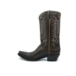 "Men's Chocolate Brown Cowboy Boots with Tan Vintage Stitch Pattern on Shaft and Brown Stitch Classic Western Toe Medallion 12"" Height 3/4"" Toe 1 1/2"" Heel Chocolate Brown Sole"