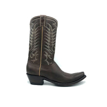 "Load image into Gallery viewer, Men's Chocolate Brown Cowboy Boots with Tan Vintage Stitch Pattern on Shaft and Brown Stitch Classic Western Toe Medallion 12"" Height 3/4"" Toe 1 1/2"" Heel Chocolate Brown Sole"