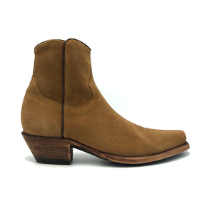 "Men's Tan Suede Ankle Zip Cowboy Boots with Chocolate Piping and Inside Zip 7"" Height Snip Toe 1 3/4"" Heel Distressed Brown Sole"