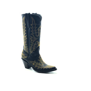"Women's Black Fashion Cowboy Boots Fancy Metallic Gold Western Stitch Pattern on Vamp Heel Counter and Shaft 13"" Height Pointy Round Toe 3"" Fashion High Heel Black Sole"