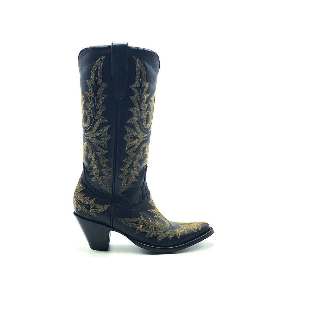 Women's Black Fashion Cowboy Boots Fancy Metallic Gold Western Stitch Pattern on Vamp Heel Counter and Shaft 13