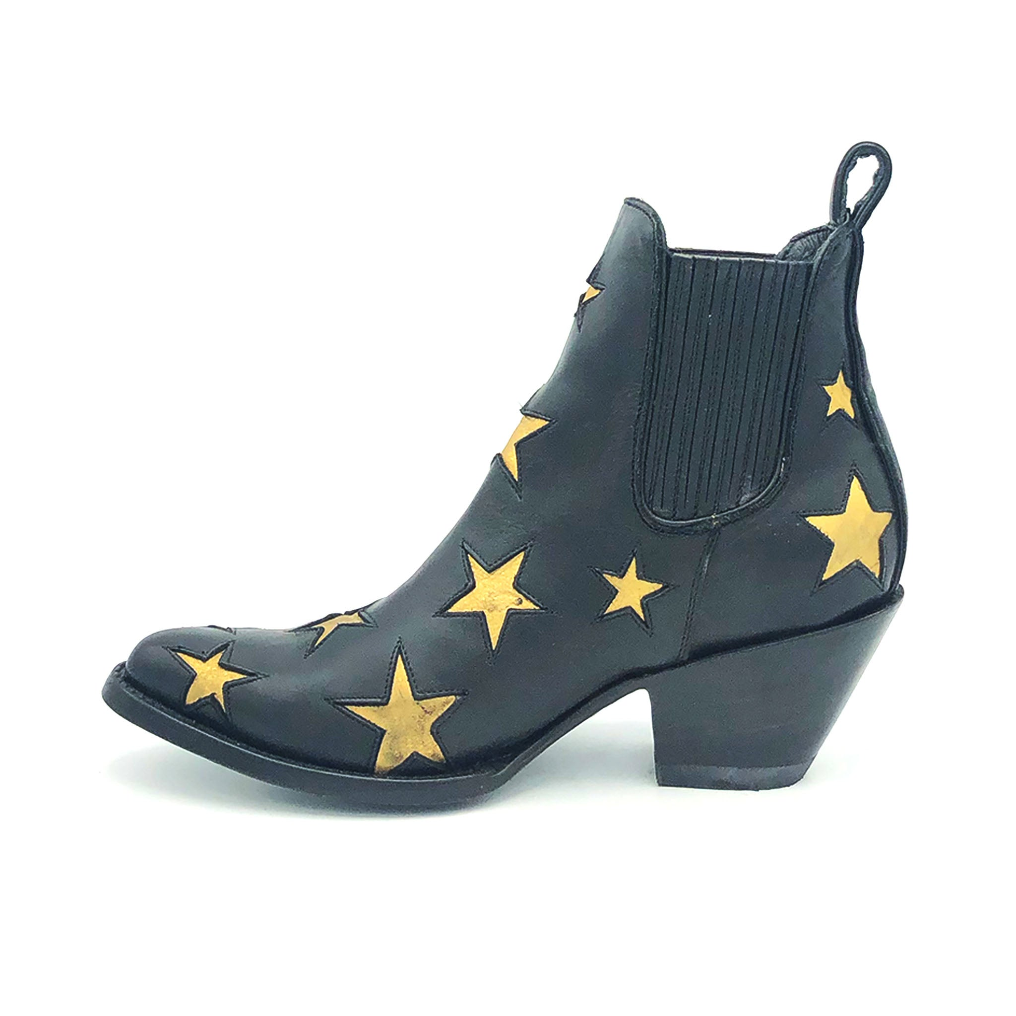 Women's Short Black Boots with Stars