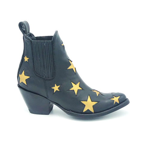Women's Black Ankle Cowboy Boots Metallic Gold Star Inlays Gore Side Openings 6