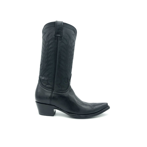 Women's Black Cowboy Boots Black Stitch Classic Western Toe Medallion Traditional Black Stitch Pattern on Shaft 12