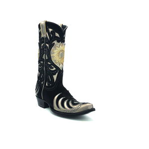 "Women's Black Suede Cowboy Boots Metallic Silver Flame Pattern Wingtip and Heel Counter Silver Shaft with Black Suede Floral Overlay Gold Sunburst 12"" Height Pointed Toe Black Sole"