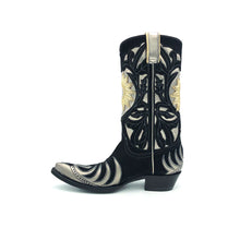 "Load image into Gallery viewer, Women's Black Suede Cowboy Boots Metallic Silver Flame Pattern Wingtip and Heel Counter Silver Shaft with Black Suede Floral Overlay Gold Sunburst 12"" Height Pointed Toe Black Sole"