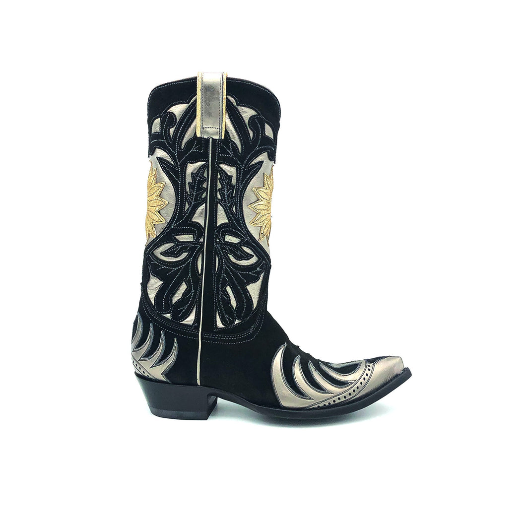 Women's Black Suede Cowboy Boots Metallic Silver Flame Pattern Wingtip and Heel Counter Silver Shaft with Black Suede Floral Overlay Gold Sunburst 12