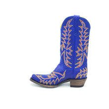 "Load image into Gallery viewer, Women's Indigo Blue Cowboy Boots Multi-Color Flame Stitch on Vamp Multi-color Traditional Western Stitch on Shaft 11"" Height  Western Toe Western Heel Distressed Brown Sole"