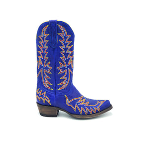 "Women's Indigo Blue Cowboy Boots Multi-Color Flame Stitch on Vamp Multi-color Traditional Western Stitch on Shaft 11"" Height  Western Toe Western Heel Distressed Brown Sole"