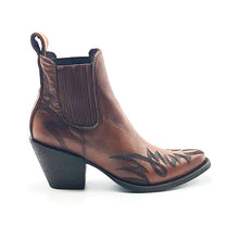 "Load image into Gallery viewer, Women's Burnished Brown Ankle Cowboy Boots with Heavy Black Stitch Western Pattern on Vamp and Heel Counter 6"" Height Pointy Round Toe 3"" High Heel Brown Sole"