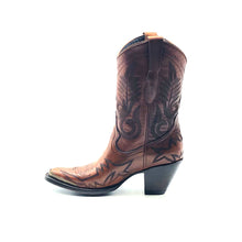 "Load image into Gallery viewer, Women's Short Brown Cowboy Boots Black Flame Stitch on Vamp with Black Stitch Classic Toe Medallion Black Fancy Western Stitch Pattern on Shaft Antique Metal Rand 10"" Height Pointy Round Toe 3"" Fashion High Heel Teak Sole"