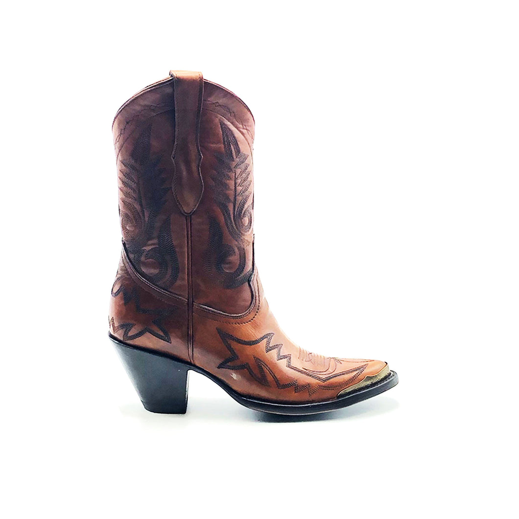 Women's Short Brown Cowboy Boots Black Flame Stitch on Vamp with Black Stitch Classic Toe Medallion Black Fancy Western Stitch Pattern on Shaft Antique Metal Rand 10