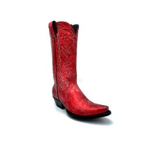 "Load image into Gallery viewer, Women's Metallic Red Cowboy Boots Black Stitched Classic Toe Medallion Black and Silver Stitched Traditional Western Pattern on Shaft Black Piping 12"" Height Western Toe Western Heel Black Sole"