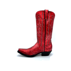 "Women's Metallic Red Cowboy Boots Black Stitched Classic Toe Medallion Black and Silver Stitched Traditional Western Pattern on Shaft Black Piping 12"" Height Western Toe Western Heel Black Sole"