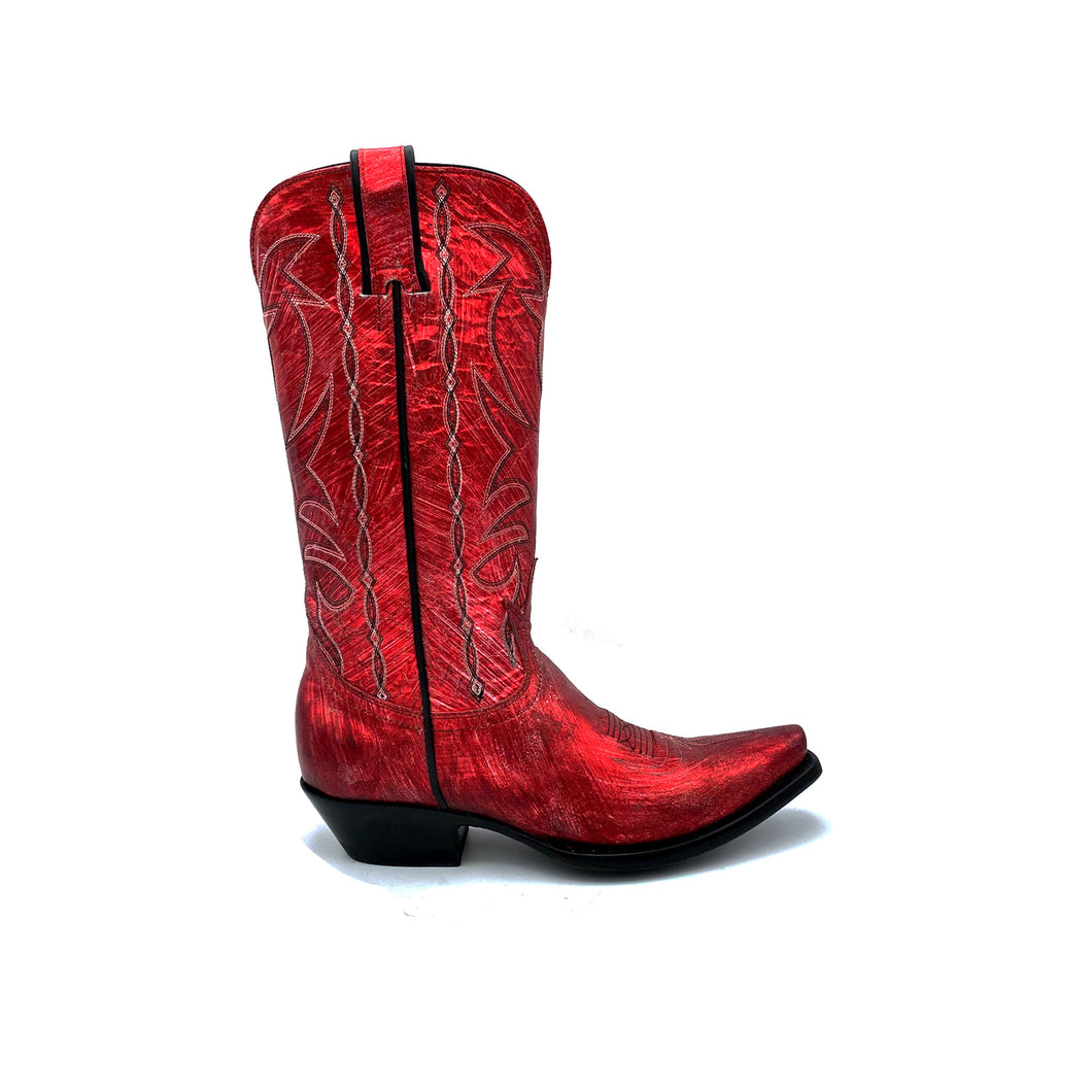 Women's Metallic Red Cowboy Boots Black Stitched Classic Toe Medallion Black and Silver Stitched Traditional Western Pattern on Shaft Black Piping 12