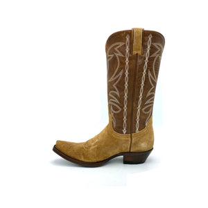 "Women's Tan Suede Cowboy Boots Classic Toe Medallion Brown Leather Shaft with Beige Stitched Traditional Western Pattern Tan Suede Pull-Straps 12"" Height Western Toe Western Heel Brown Sole"
