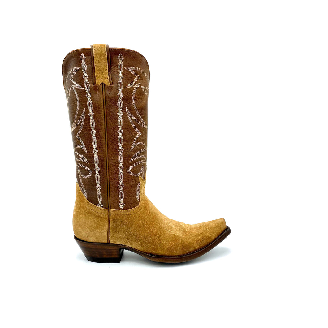 Women's Tan Suede Cowboy Boots Classic Toe Medallion Brown Leather Shaft with Beige Stitched Traditional Western Pattern Tan Suede Pull-Straps 12