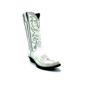 "Women's Distressed White Cowboy Boots Black Stitched Classic Toe Medallion Black Stitched Traditional Western Pattern on Shaft Black Piping 12"" Height Western Toe Western Heel Black Sole"