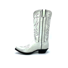 "Load image into Gallery viewer, Women's Distressed White Cowboy Boots Black Stitched Classic Toe Medallion Black Stitched Traditional Western Pattern on Shaft Black Piping 12"" Height Western Toe Western Heel Black Sole"