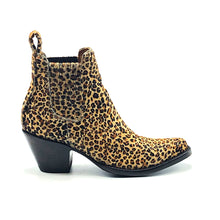 "Load image into Gallery viewer, Women's Cheetah Print Ankle Cowboy Boots Tan Calf Lining Gore Side Openings 6"" Height Pointy Round Toe 3"" Fashion High Heel Teak Sole"