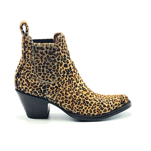 "Women's Cheetah Print Ankle Cowboy Boots Tan Calf Lining Gore Side Openings 6"" Height Pointy Round Toe 3"" Fashion High Heel Teak Sole"