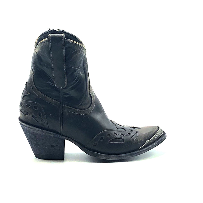 Women's Distressed Black Short Cowboy Boots Distressed Black Wingtip Overlay and Heel Counter Overlay Antique Metal Toe Rand Inside Zipper 7