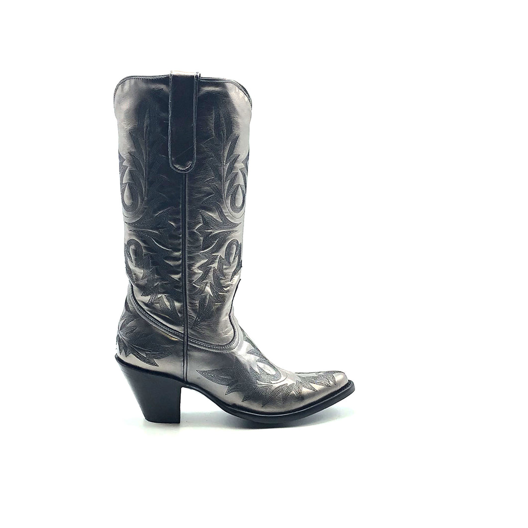 Women's Metallic Silver Fashion Cowboy Boots Fancy Black Western Stitch Pattern on Vamp Heel Counter and Shaft 13