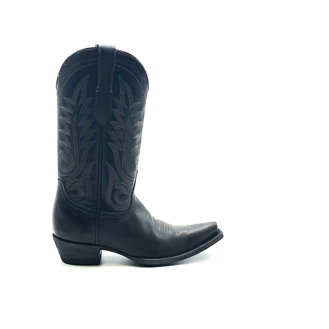 Women's Black Cowboy Boots Black Stitch Classic Western Toe Medallion Traditional Western Grey Stitch Pattern on Shaft 12
