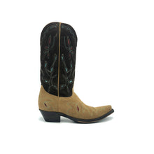 "Load image into Gallery viewer, Women's Suede Cowboy Boots with Tan Suede Vamp with Turquoise Stitch and Red Inlays and Chocolate Suede Shaft with Turquoise and Tan Stitch and Turquoise and Red Inlays 13"" Height Snip Toe 1 1/2"" Heel Brown Sole"