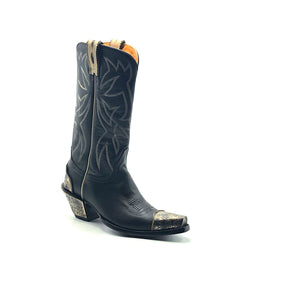 "Women's Black Cowboy Boots with Bone Piping Pull-Straps and Stitching Classic Western Toe Medallion Engraved Metal Toe Heel Counter and Heel 12"" Height Snip Toe 2 1/2"" Fashion High Heel Black Sole"