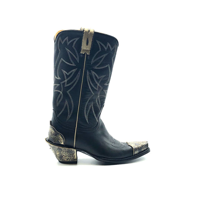 Women's Black Cowboy Boots with Bone Piping Pull-Straps and Stitching Classic Western Toe Medallion Engraved Metal Toe Heel Counter and Heel 12