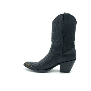 "Women's Short Black Cowboy Boots Black Flame Stitch on Vamp with Black Stitch Classic Toe Medallion Black Fancy Western Stitch Pattern on Shaft Antique Metal Toe Rand 10"" Height Pointy Round Toe 3"" Fashion High Heel Black Sole"