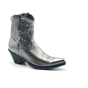 "Women's Short Silver Cowboy Boots Western Stitch Patten Classic Toe Medallion 7"" Height Snip Toe 2 1/2"" Fashion High Heel Black Sole"